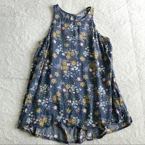Old Navy Flowy Gray Floral Tank Top